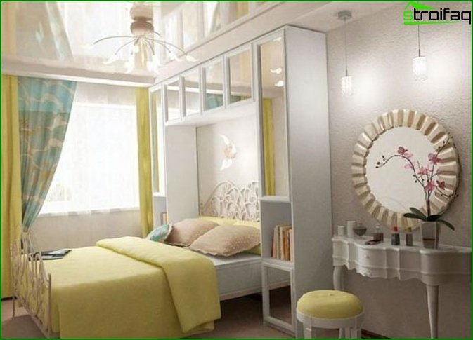 Bedroom in a paneled apartment building