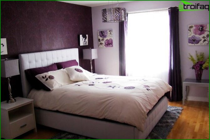 Bedroom in pink and purple shades - photo 3