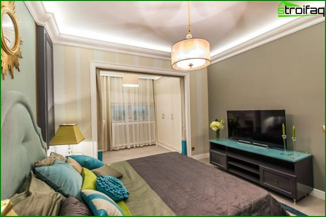 A bedroom combined with a balcony or a loggia