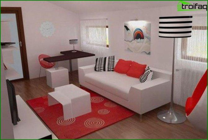 Bedroom-living room: secrets of decoration - photo