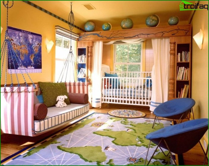 A bed in a boy's room