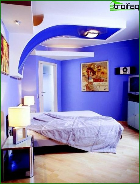 The design of the ceiling in the boy's room