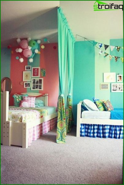 Bedroom for children of different sexes