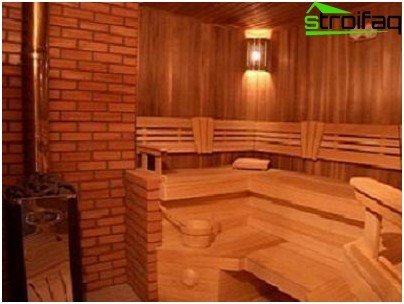 Variant of a modern interior in a timber bath
