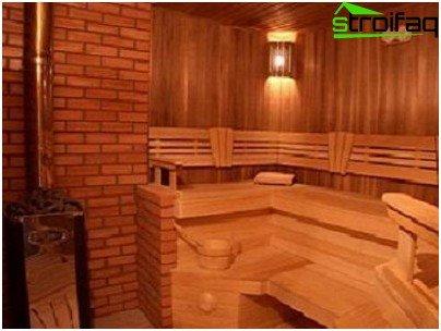 Variant van een modern interieur in een houten bad