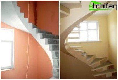 Escaleras de hormigón en espiral hasta el segundo piso.
