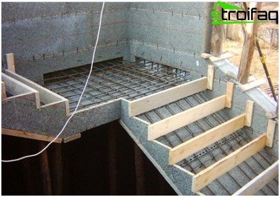 Concrete stairs to the second floor