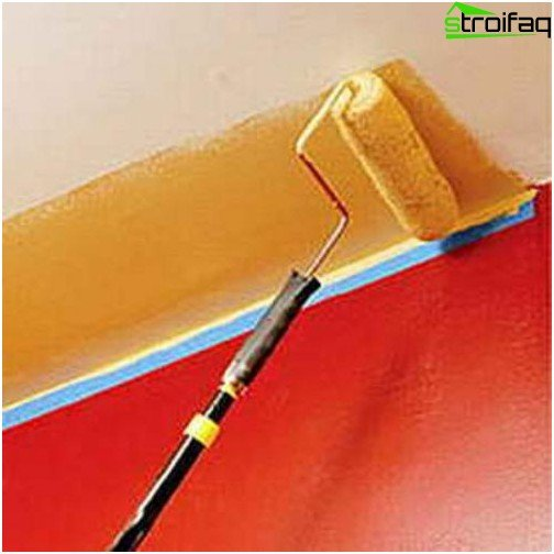 Paint the ceiling with a roller