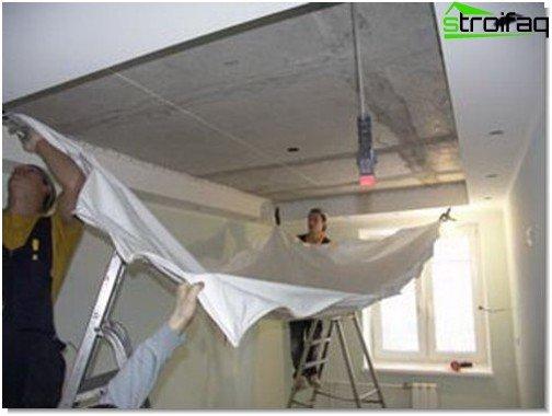 Перетягування провислої натяжної стелі