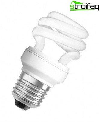 Energiesparlampen in Form einer Spirale
