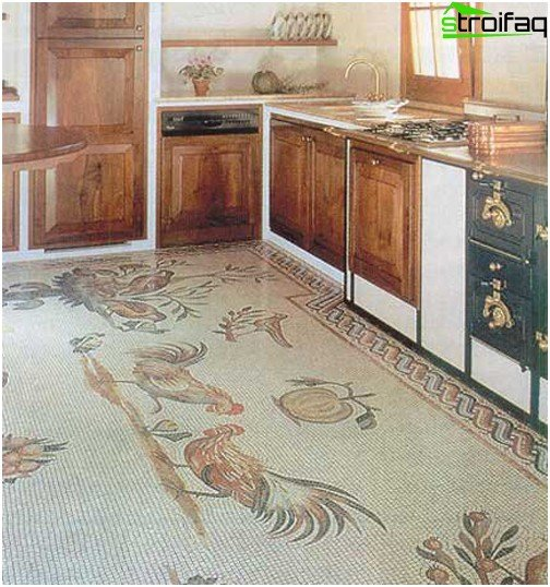 The mosaic tapestry on the kitchen floor goes well with ethnic-style furniture