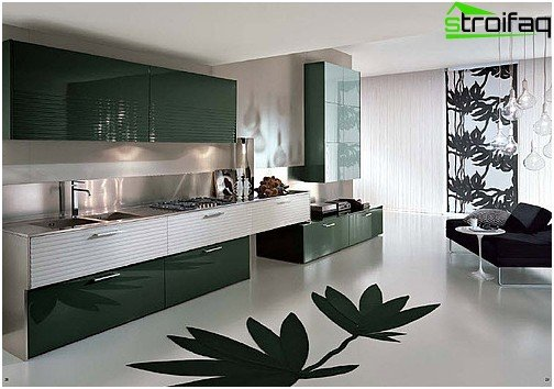 Smooth, seamless bulk flooring, plain or patterned - a spectacular design solution for the kitchen