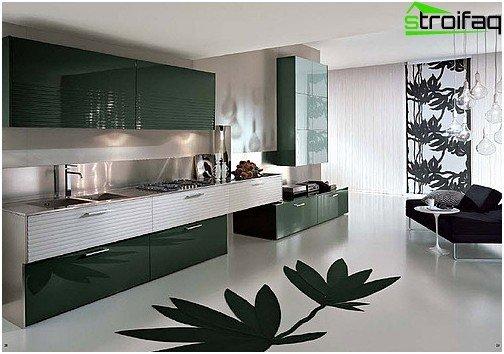 Glat, sømløst bulkgulv, glat eller mønster - en spektakulær designløsning til køkkenet