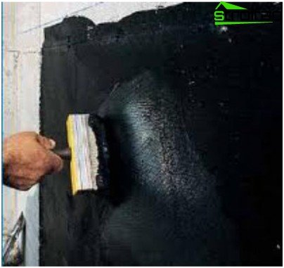 Painting waterproofing with bitumen