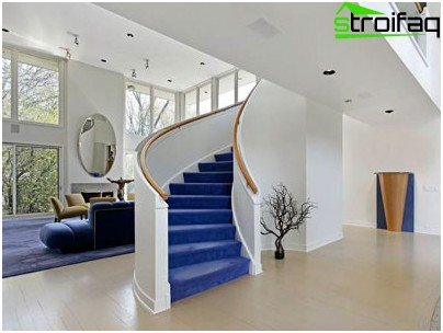 The staircase should occupy as little space as possible, and several of its lower steps should be facing the entrance to the room