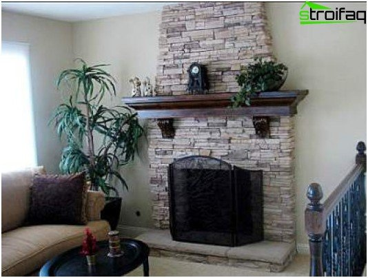 Spanish-style living room with fireplace