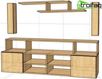 Zelfgemaakte meubels voor de locatie van alle componenten van een thuisbioscoop