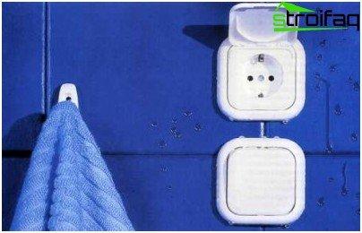 Geerdete Badezimmersteckdosen mit Vorhang