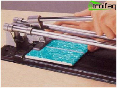 Cut the tile with a tile cutter