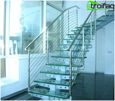 Metal staircase with tempered glass steps