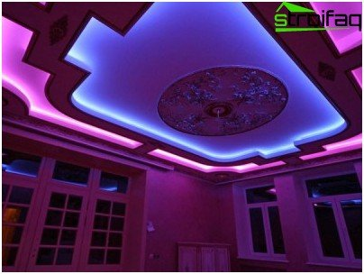 Strækloft i flere niveauer med skjult belysning