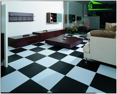 Tile floors in contrasting colors
