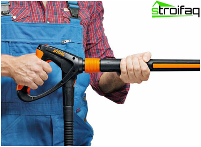 gun with remote control of working pressure