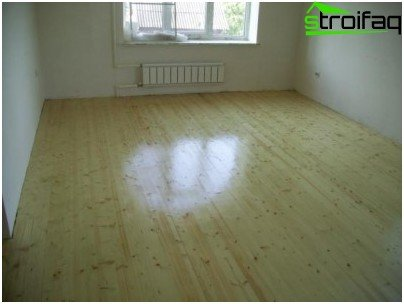 Lacquered wood floor