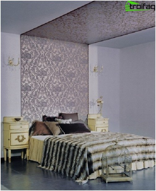 The option of decorating the ceiling with imported wallpaper