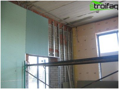 Plasterboard mounting on a galvanized profile frame