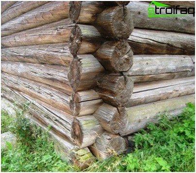 Erwärmung der Ecken eines Holzeinschlags