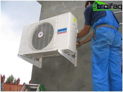 Installing the outdoor unit on a building wall