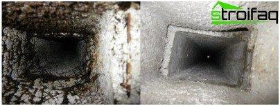 Ето как изглежда вентилационният канал преди и след почистването. Можете да извършвате само превантивно почистване на вентилационния канал, разположен директно в апартамента