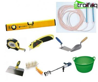 Do-it-yourself tool kit for cement-sand screed