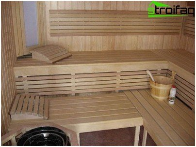 Comfortable shelf accessories for the steam room