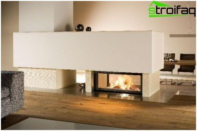 Options for the location of fireplaces in the interior