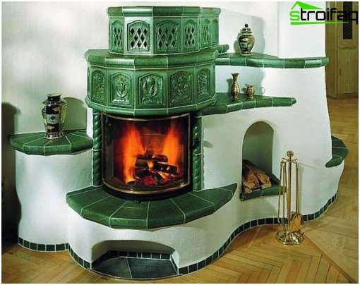 The fireplace is decorated with tiles.