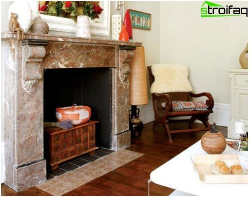 Fireplace in the stylized direction of eclecticism
