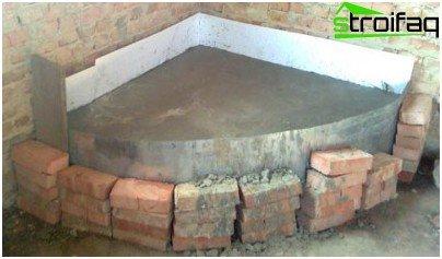 Изливане на фундамент за камина