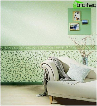 Horizontal combination of wallpaper in the living room