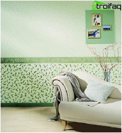 Combinación horizontal de papel tapiz en la sala de estar