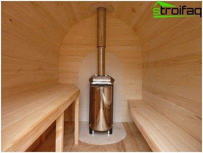 Metal boiler in the steam room