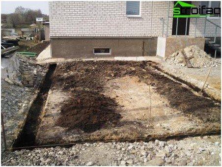 Bau des Streifenfundaments - Vorbereitung