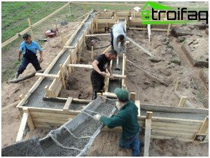 Der Prozess des Gießens von Beton mit einer Rinne