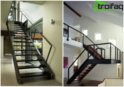 Metal stairs with different finishes