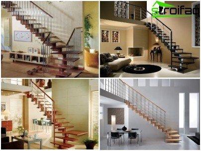 Снимка на модулни стълби - примери за вариации с различни компоненти