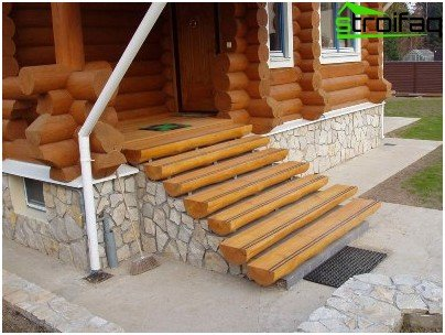Wooden outdoor staircase in the cottage