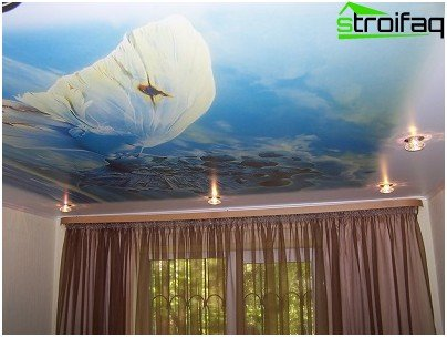 Stretch ceiling design for high school room