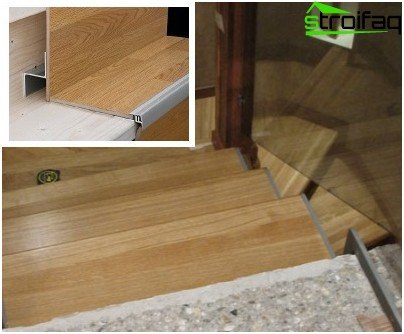 Lining the stairs with laminate