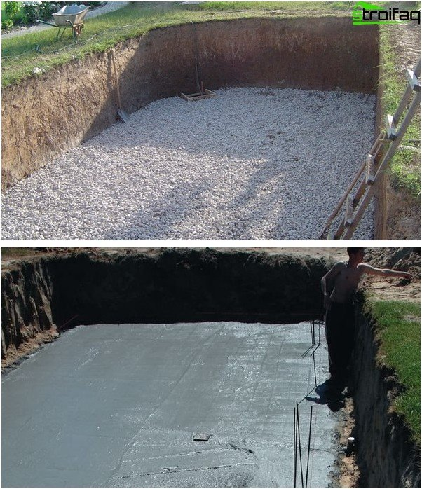 Възглавница от натрошен камък и бетонна замазка за бъдещия басейн